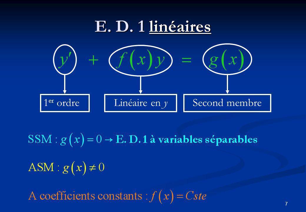 7 E. D. 1 linéaires 1 er ordre Linéaire en y Second membre
