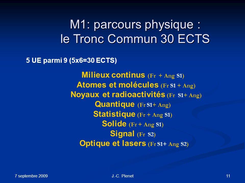 7 septembre 2009 11J.-C. Plenet M1: parcours physique : le Tronc Commun 30 ECTS 5 UE parmi 9 (5x6=30 ECTS) Milieux continus (Fr + Ang S1) Atomes et mo