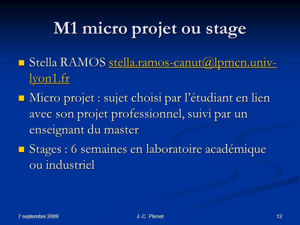 7 septembre 2009 12J.-C. Plenet M1 micro projet ou stage Stella RAMOS stella.ramos-canut@lpmcn.univ- lyon1.fr Stella RAMOS stella.ramos-canut@lpmcn.un