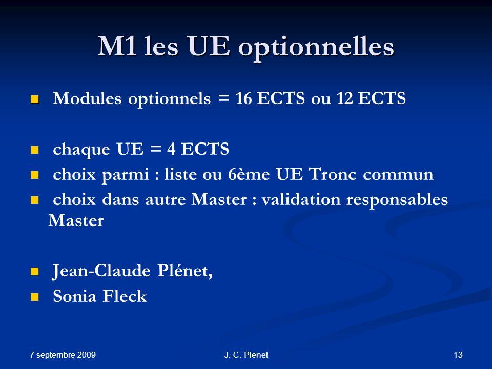 7 septembre 2009 13J.-C. Plenet M1 les UE optionnelles Modules optionnels = 16 ECTS ou 12 ECTS chaque UE = 4 ECTS choix parmi : liste ou 6ème UE Tronc