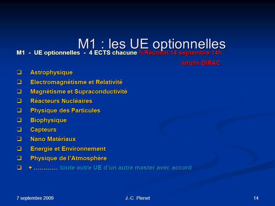 7 septembre 2009 14J.-C. Plenet M1 : les UE optionnelles M1 - UE optionnelles - 4 ECTS chacune Réunion 14 septembre 14h amphi DIRAC Astrophysique Astr