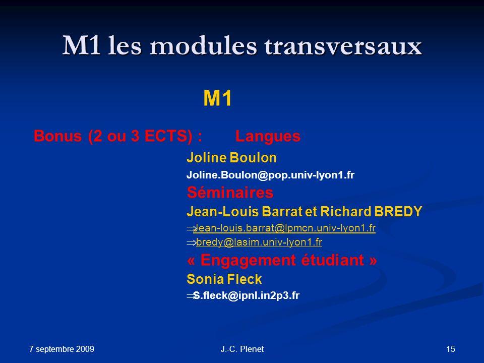 7 septembre 2009 15J.-C. Plenet M1 les modules transversaux M1 Bonus (2 ou 3 ECTS) :Langues Joline Boulon Joline.Boulon@pop.univ-lyon1.fr Séminaires J