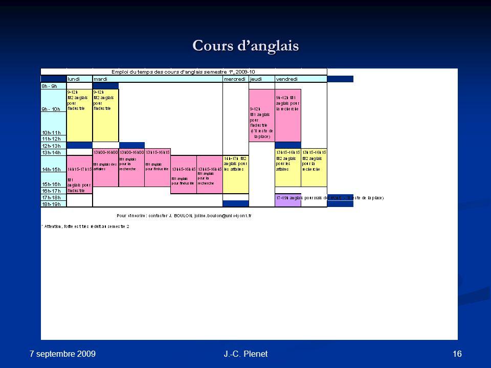 7 septembre 2009 16J.-C. Plenet Cours danglais
