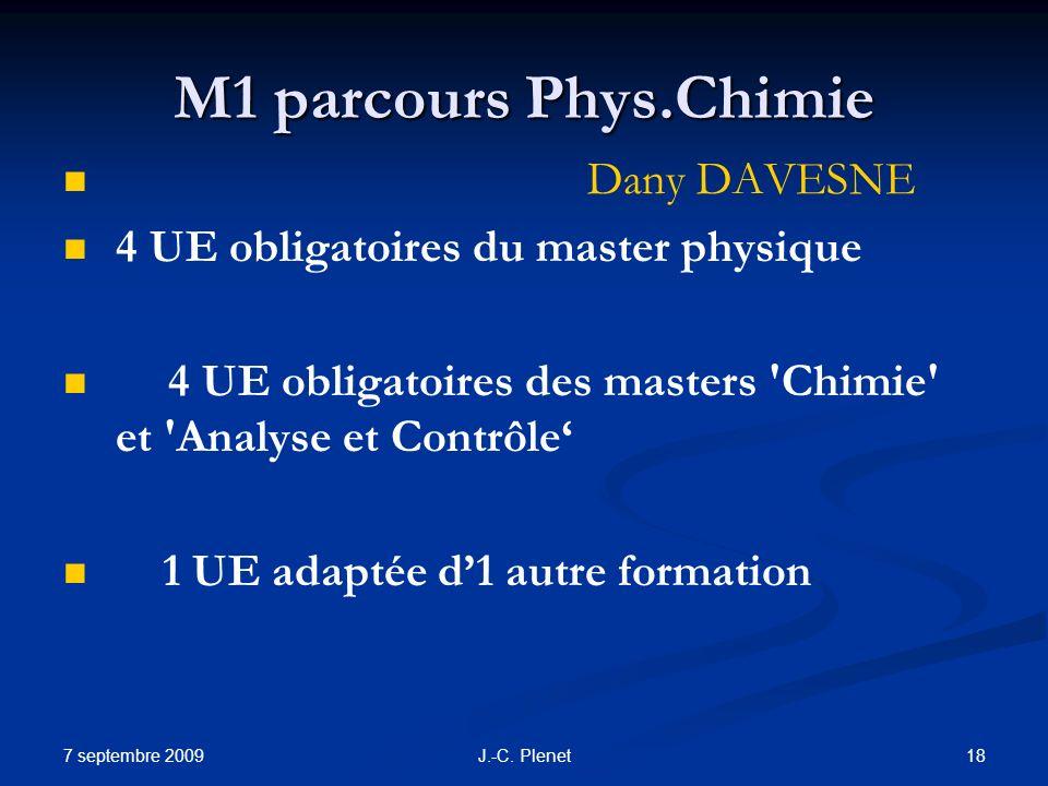 7 septembre 2009 18J.-C. Plenet M1 parcours Phys.Chimie Dany DAVESNE 4 UE obligatoires du master physique 4 UE obligatoires des masters 'Chimie' et 'A