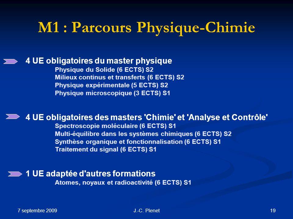 7 septembre 2009 19J.-C. Plenet M1 : Parcours Physique-Chimie 4 UE obligatoires du master physique Physique du Solide (6 ECTS) S2 Milieux continus et