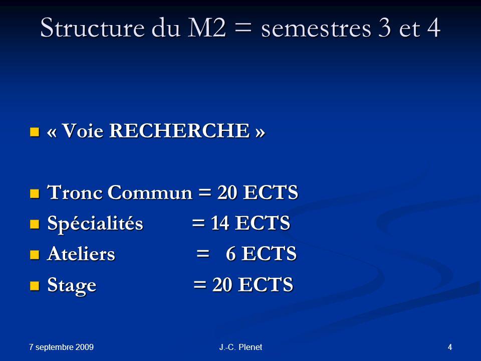 7 septembre 2009 4J.-C. Plenet Structure du M2 = semestres 3 et 4 « Voie RECHERCHE » « Voie RECHERCHE » Tronc Commun = 20 ECTS Tronc Commun = 20 ECTS