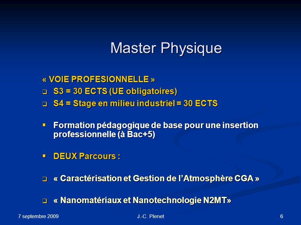 7 septembre 2009 6J.-C. Plenet Master Physique « VOIE PROFESIONNELLE » S3 = 30 ECTS (UE obligatoires) S3 = 30 ECTS (UE obligatoires) S4 = Stage en mil