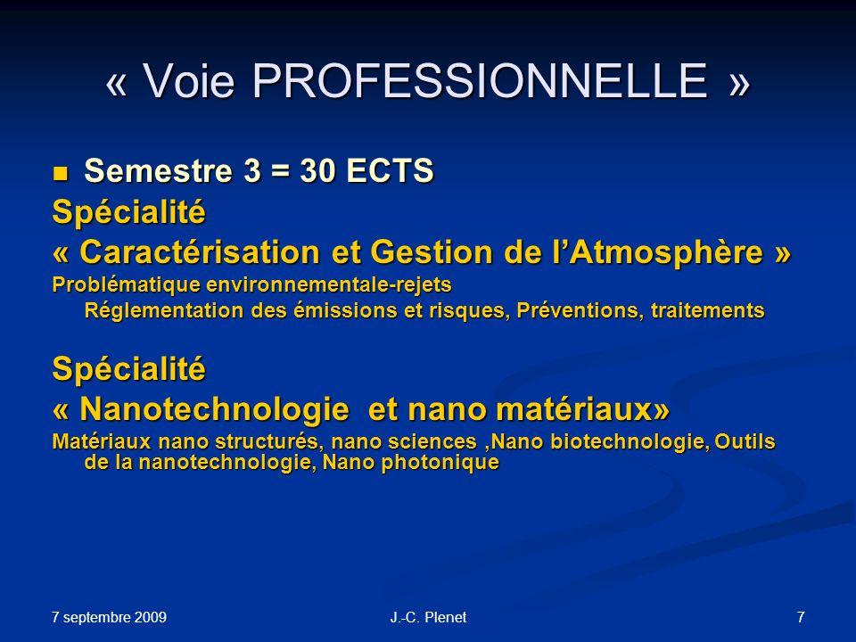 7 septembre 2009 7J.-C. Plenet « Voie PROFESSIONNELLE » Semestre 3 = 30 ECTS Semestre 3 = 30 ECTSSpécialité « Caractérisation et Gestion de lAtmosphèr