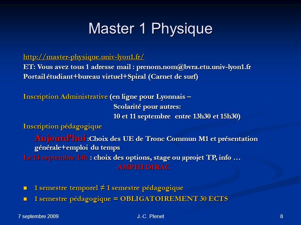 7 septembre 2009 8J.-C. Plenet Master 1 Physique http://master-physique.univ-lyon1.fr/ ET: Vous avez tous 1 adresse mail : prenom.nom@bvra.etu.univ-ly