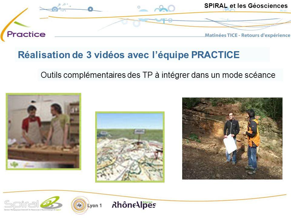 Outils complémentaires des TP à intégrer dans un mode scéance Réalisation de 3 vidéos avec léquipe PRACTICE SPIRAL et les Géosciences