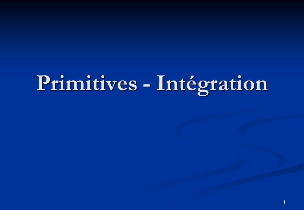 2 La notion de Primitive Définition : F(x) est une primitive de f (x) si F (x) = f (x) Donc F(x) + Cste est aussi une primitive.