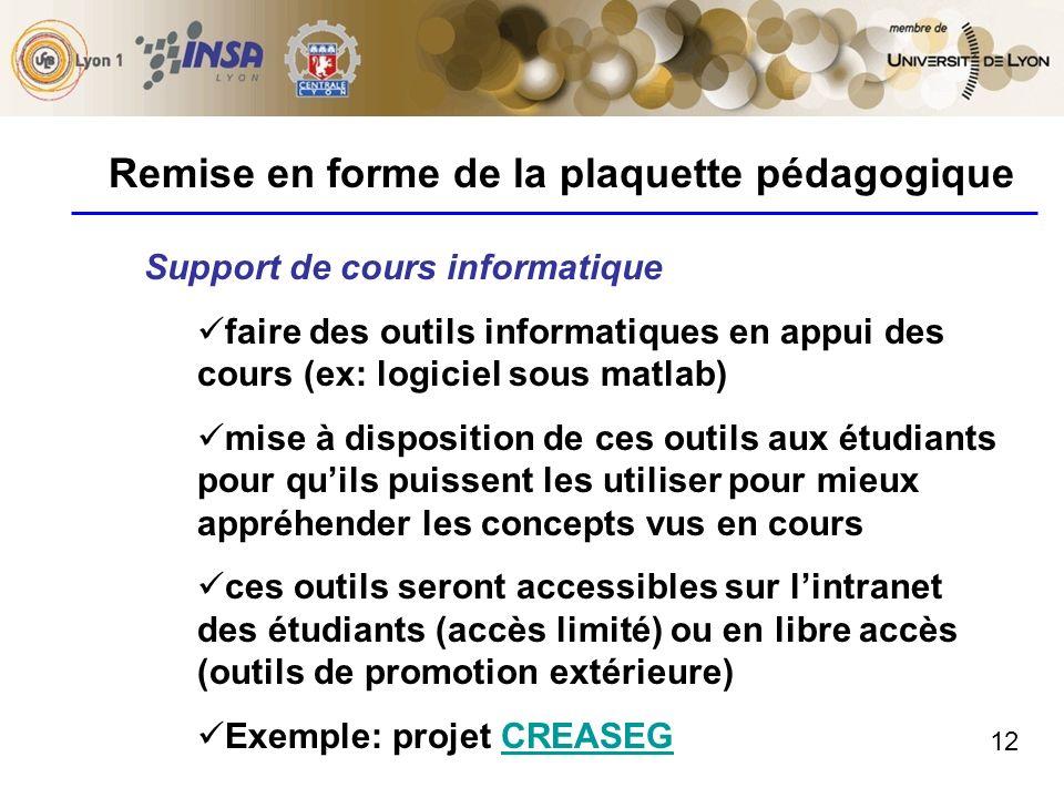 12 Remise en forme de la plaquette pédagogique Support de cours informatique faire des outils informatiques en appui des cours (ex: logiciel sous matl