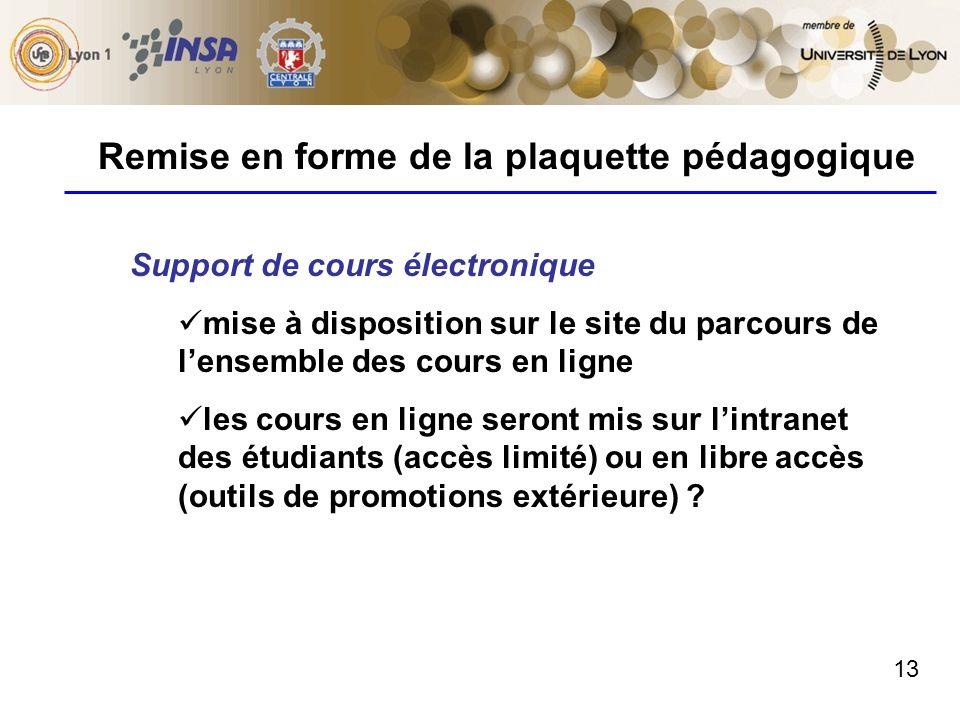 13 Remise en forme de la plaquette pédagogique Support de cours électronique mise à disposition sur le site du parcours de lensemble des cours en lign