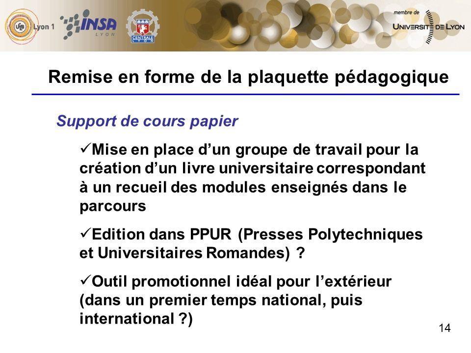 14 Remise en forme de la plaquette pédagogique Support de cours papier Mise en place dun groupe de travail pour la création dun livre universitaire co