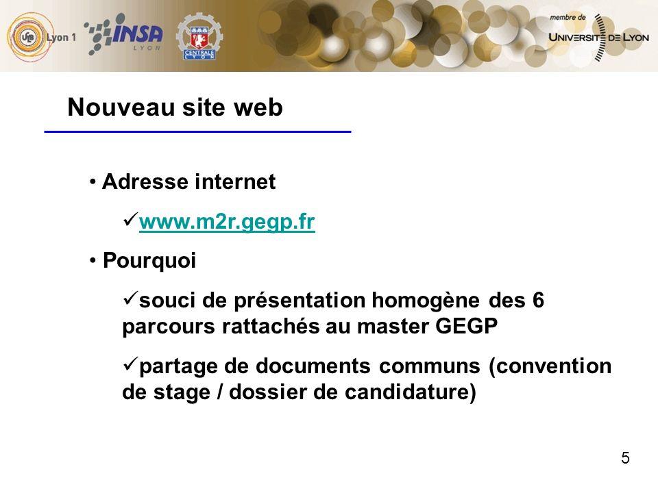 5 Nouveau site web Adresse internet www.m2r.gegp.fr Pourquoi souci de présentation homogène des 6 parcours rattachés au master GEGP partage de documen