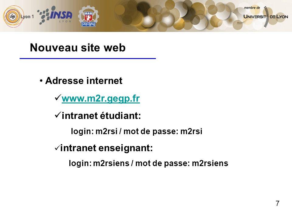 7 Adresse internet www.m2r.gegp.fr intranet étudiant: login: m2rsi / mot de passe: m2rsi intranet enseignant: login: m2rsiens / mot de passe: m2rsiens Nouveau site web