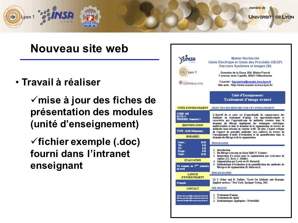 8 Travail à réaliser mise à jour des fiches de présentation des modules (unité denseignement) fichier exemple (.doc) fourni dans lintranet enseignant Nouveau site web