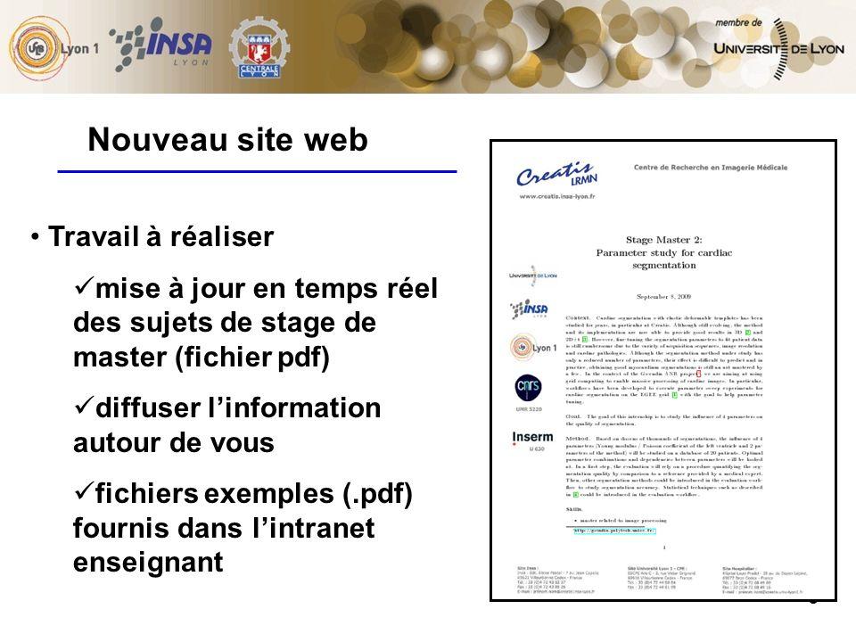 9 Travail à réaliser mise à jour en temps réel des sujets de stage de master (fichier pdf) diffuser linformation autour de vous fichiers exemples (.pdf) fournis dans lintranet enseignant Nouveau site web