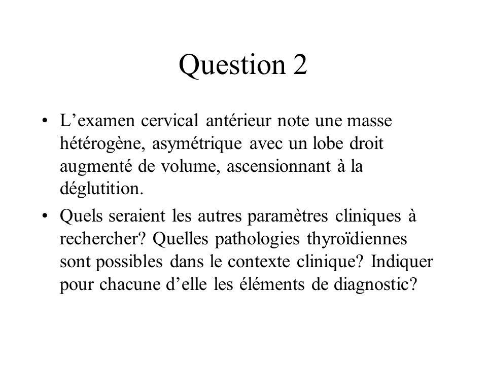 Question 2 Lexamen cervical antérieur note une masse hétérogène, asymétrique avec un lobe droit augmenté de volume, ascensionnant à la déglutition. Qu