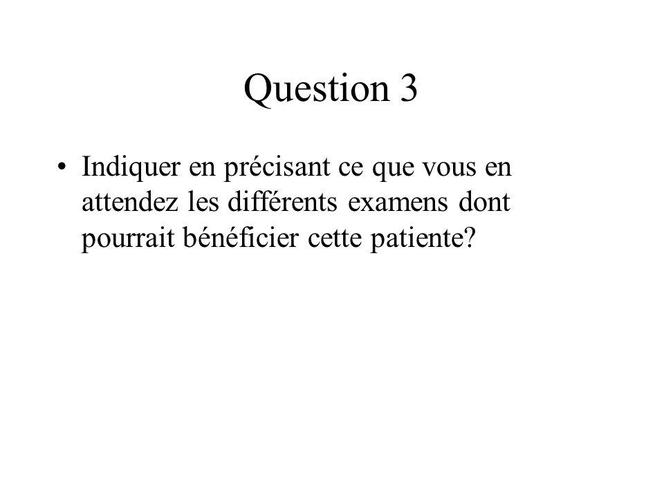 Question 3 Indiquer en précisant ce que vous en attendez les différents examens dont pourrait bénéficier cette patiente?