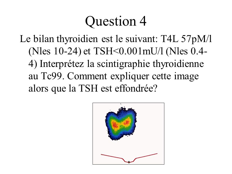 Question 4 Le bilan thyroidien est le suivant: T4L 57pM/l (Nles 10-24) et TSH<0.001mU/l (Nles 0.4- 4) Interprétez la scintigraphie thyroidienne au Tc9