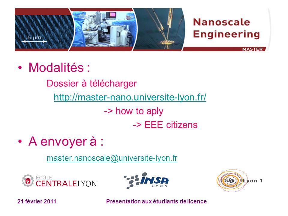 21 février 2011 Présentation aux étudiants de licence Modalités : Dossier à télécharger http://master-nano.universite-lyon.fr/ -> how to aply -> EEE c