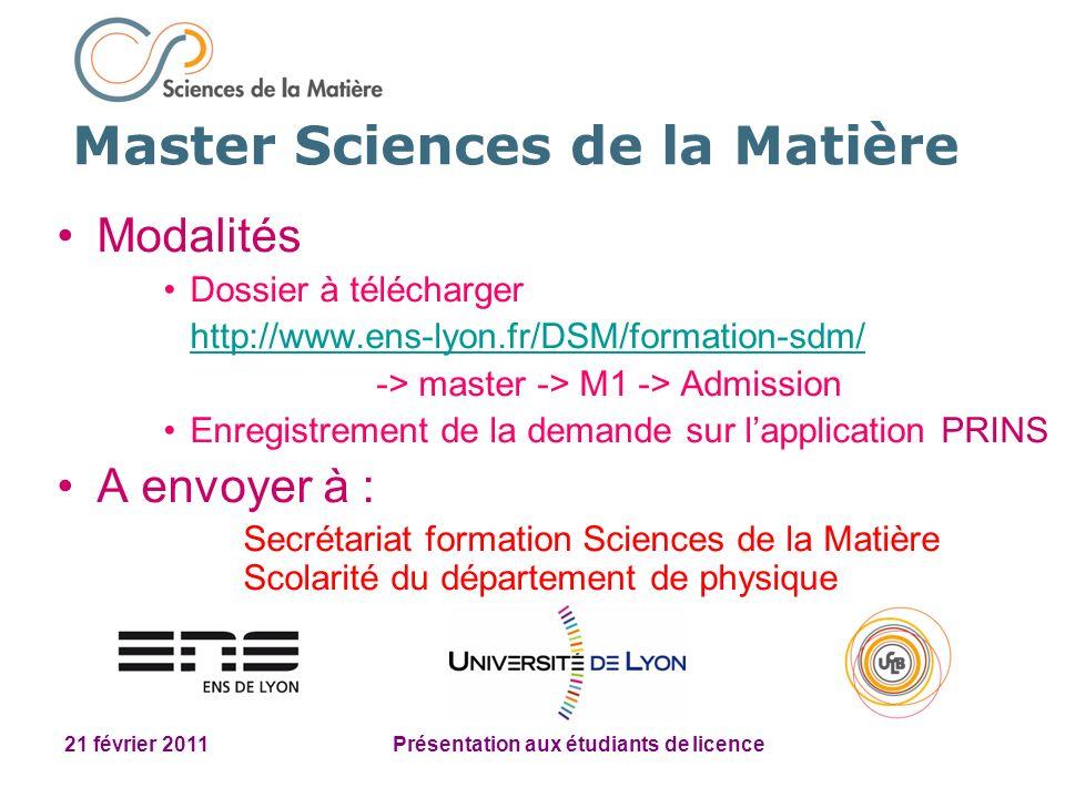 21 février 2011 Présentation aux étudiants de licence Modalités Dossier à télécharger http://www.ens-lyon.fr/DSM/formation-sdm/ -> master -> M1 -> Adm