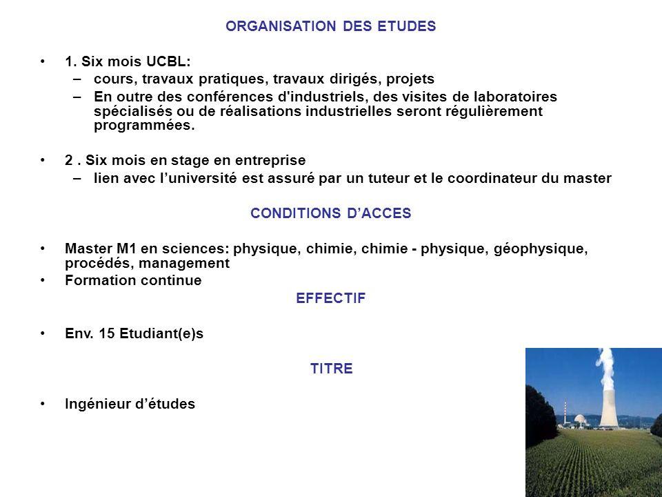 ORGANISATION DES ETUDES 1. Six mois UCBL: –cours, travaux pratiques, travaux dirigés, projets –En outre des conférences d'industriels, des visites de