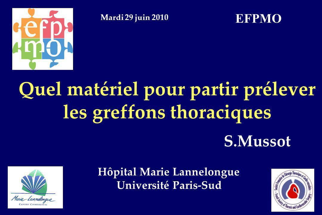Quel matériel pour partir prélever les greffons thoraciques S.Mussot Hôpital Marie Lannelongue Université Paris-Sud Mardi 29 juin 2010 EFPMO