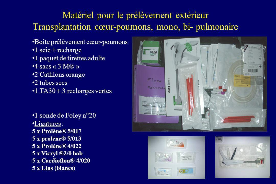 Matériel pour le prélèvement extérieur Transplantation cœur-poumons, mono, bi- pulmonaire Boite prélèvement cœur-poumons 1 scie + recharge 1 paquet de