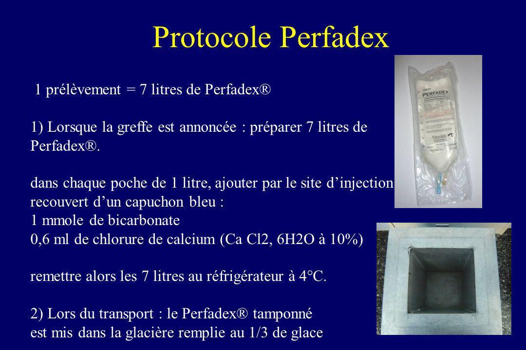Protocole Perfadex 1 prélèvement = 7 litres de Perfadex® 1) Lorsque la greffe est annoncée : préparer 7 litres de Perfadex®. dans chaque poche de 1 li