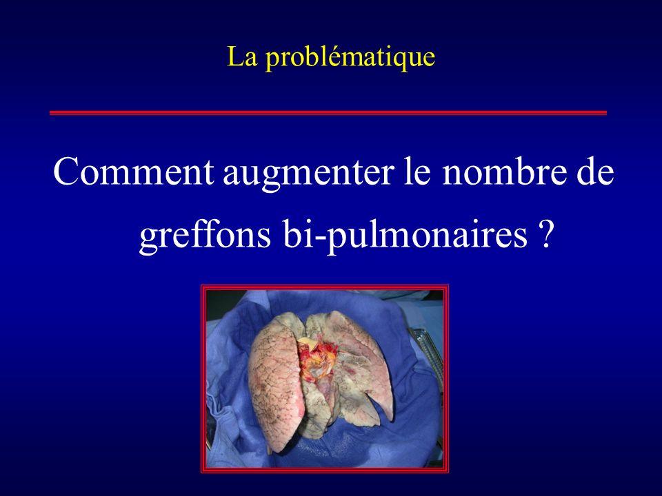 La problématique Comment augmenter le nombre de greffons bi-pulmonaires ?