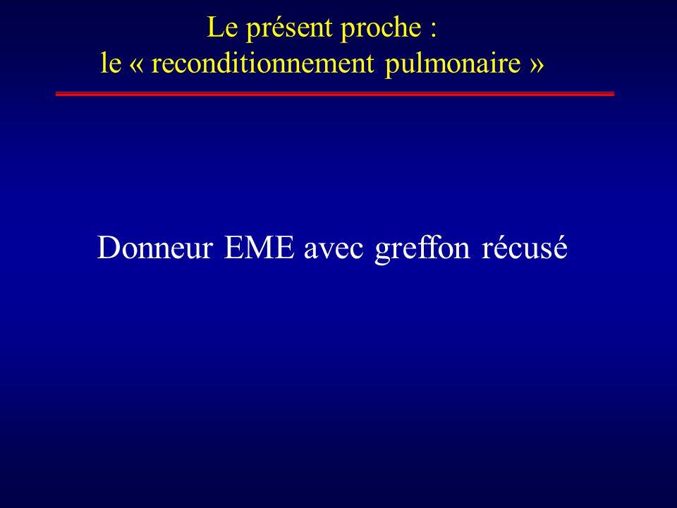 Le présent proche : le « reconditionnement pulmonaire » Donneur EME avec greffon récusé