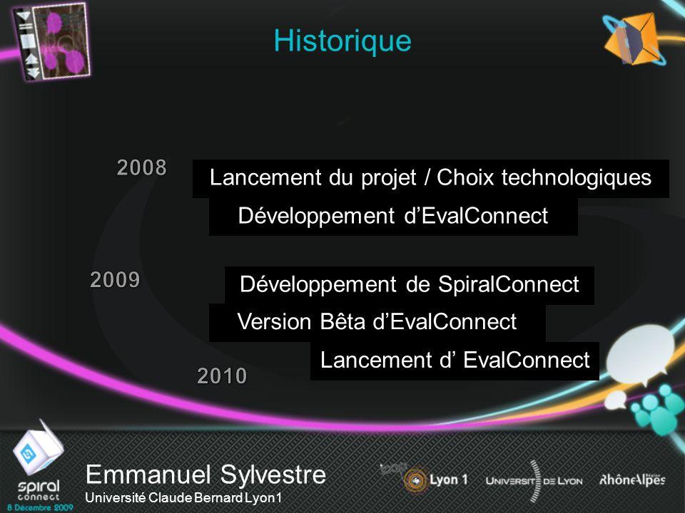 Emmanuel Sylvestre Université Claude Bernard Lyon1 Historique Lancement du projet / Choix technologiques Version Bêta dEvalConnect Lancement d EvalCon
