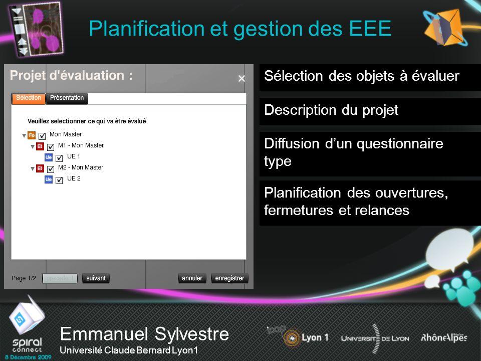 Emmanuel Sylvestre Université Claude Bernard Lyon1 Planification et gestion des EEE Sélection des objets à évaluer Description du projet Diffusion dun