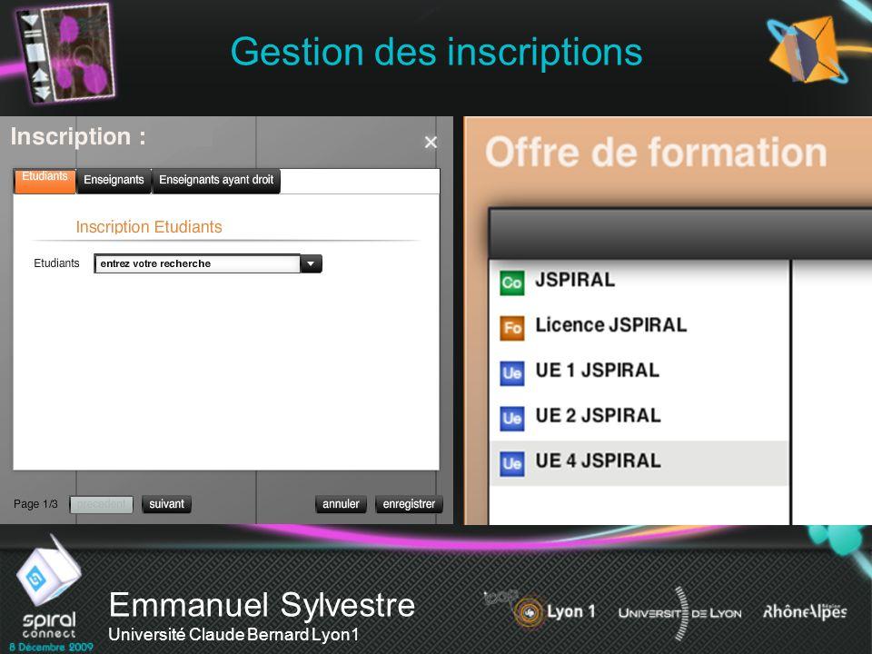Gestion des inscriptions Emmanuel Sylvestre Université Claude Bernard Lyon1 Inscription manuelle Inscription automatisée Intervenants APOGEE