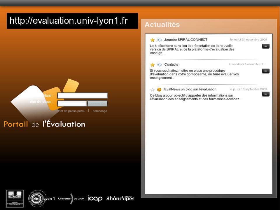Emmanuel Sylvestre Université Claude Bernard Lyon1 http://evaluation.univ-lyon1.fr