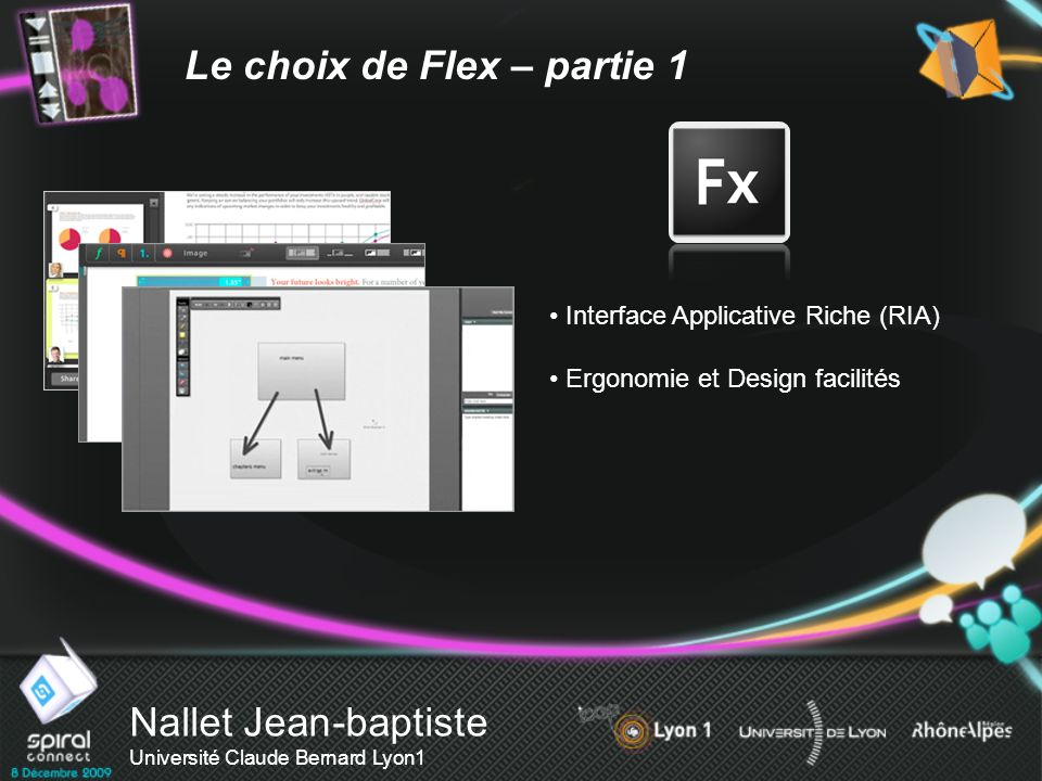 Nallet Jean-baptiste Université Claude Bernard Lyon1 Le choix de Flex – partie 1 Interface Applicative Riche (RIA) Ergonomie et Design facilités