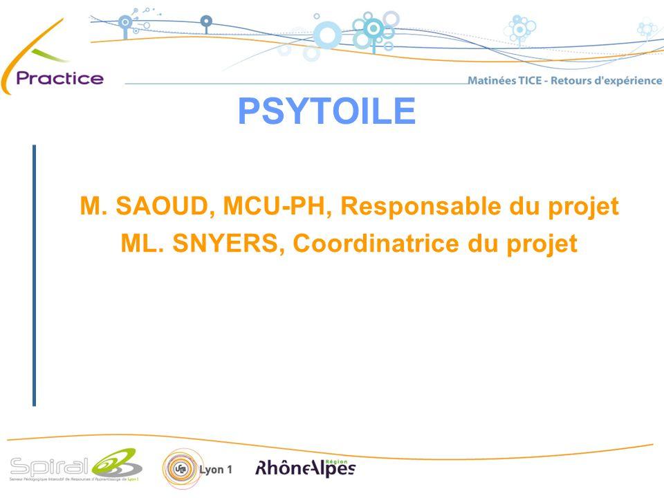 PSYTOILE M. SAOUD, MCU-PH, Responsable du projet ML. SNYERS, Coordinatrice du projet