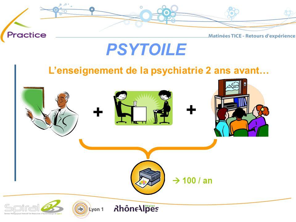 Lenseignement de la psychiatrie 2 ans avant… 100 / an + +