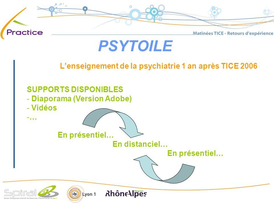 PSYTOILE Lenseignement de la psychiatrie avec TICE 2006/2007 SUPPORTS EN COURS DE REALISATION - Diaporama (PPT + Version Adobe + SPEECHI) - Vidéos - Liens vidéo sur diaporama (Ciblage symptomatique) -… En présentiel… En distanciel… Avec évaluations…