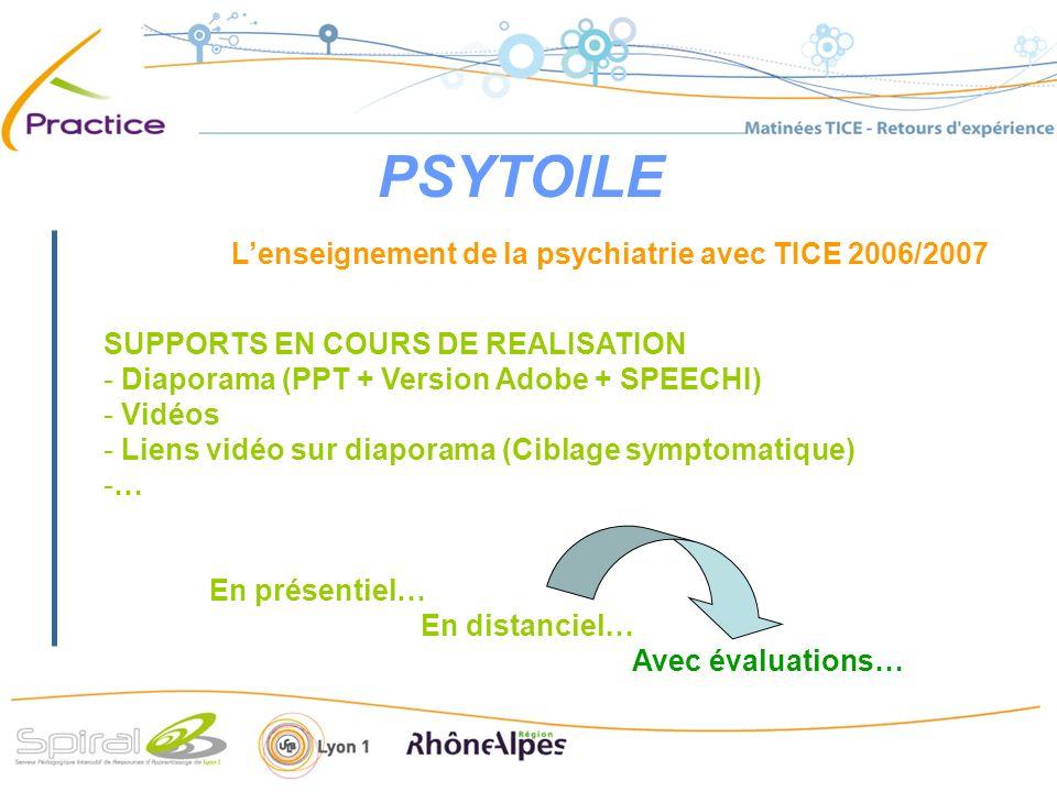PSYTOILE Lenseignement de la psychiatrie avec TICE 2006/2007 SUPPORTS EN COURS DE REALISATION - Diaporama (PPT + Version Adobe + SPEECHI) - Vidéos - L