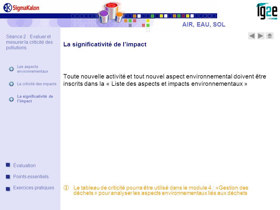 Toute nouvelle activité et tout nouvel aspect environnemental doivent être inscrits dans la « Liste des aspects et impacts environnementaux » AIR, EAU
