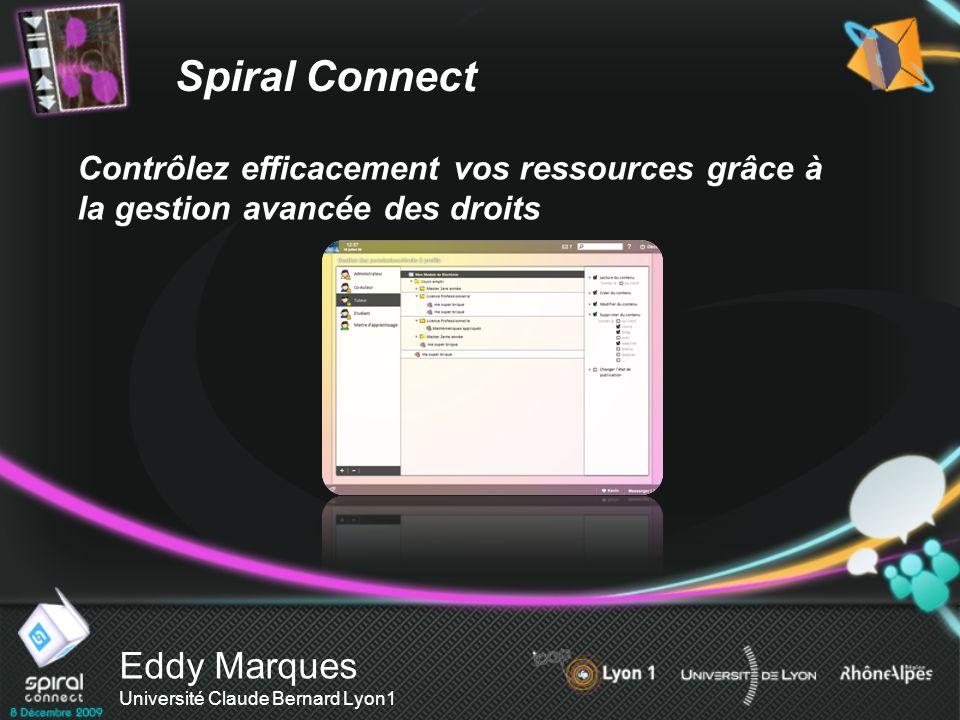 Eddy Marques Université Claude Bernard Lyon1 Contrôlez efficacement vos ressources grâce à la gestion avancée des droits Spiral Connect