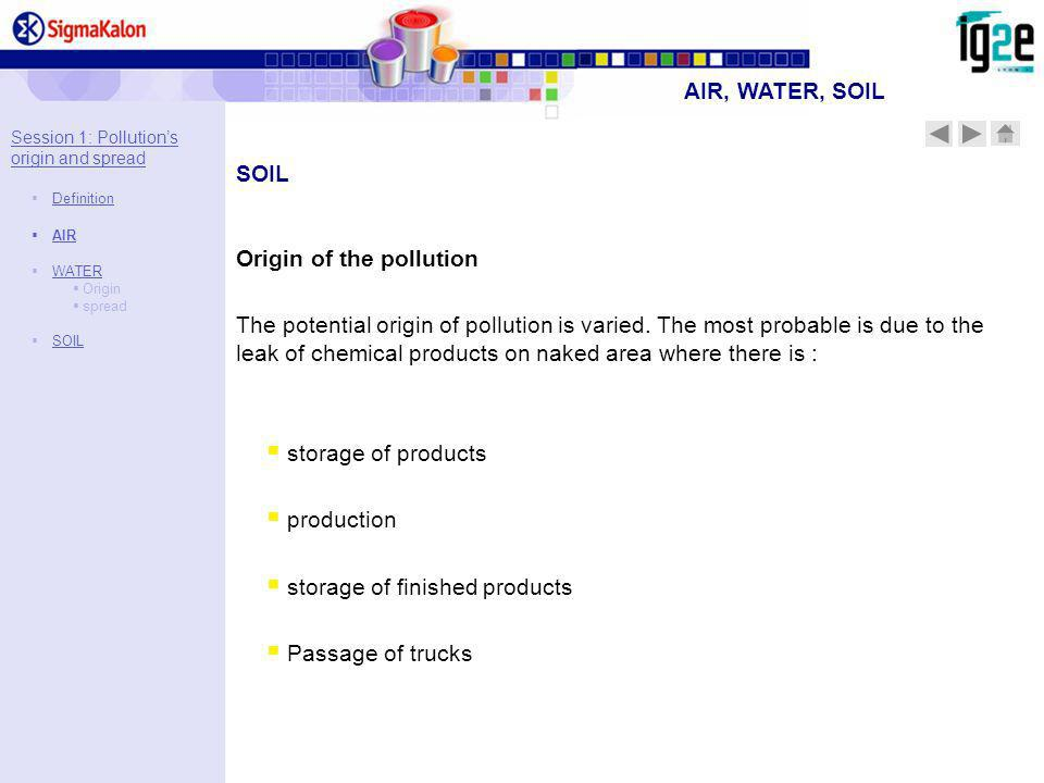 storage of products production storage of finished products Passage of trucks SOIL Origin of the pollution The potential origin of pollution is varied.