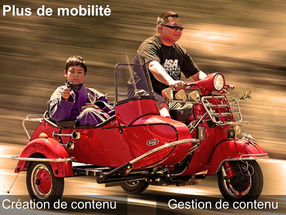 Plus de mobilité Création de contenuGestion de contenu