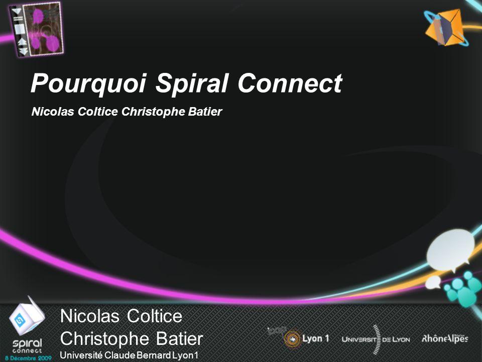 Nicolas Coltice Christophe Batier Université Claude Bernard Lyon1 Pourquoi Spiral Connect Nicolas Coltice Christophe Batier