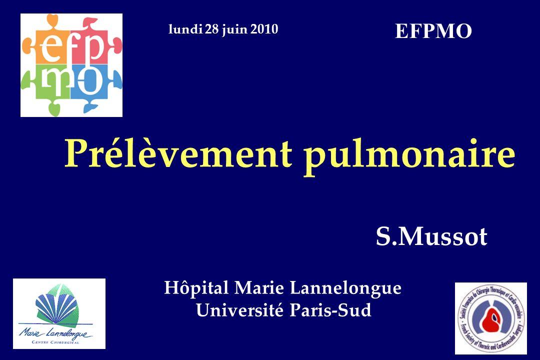 Prélèvement pulmonaire S.Mussot Hôpital Marie Lannelongue Université Paris-Sud lundi 28 juin 2010 EFPMO