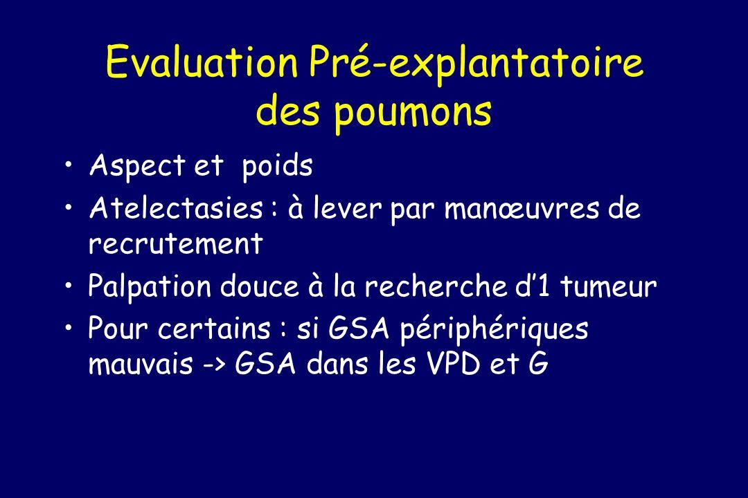 Evaluation Pré-explantatoire des poumons Aspect et poids Atelectasies : à lever par manœuvres de recrutement Palpation douce à la recherche d1 tumeur Pour certains : si GSA périphériques mauvais -> GSA dans les VPD et G