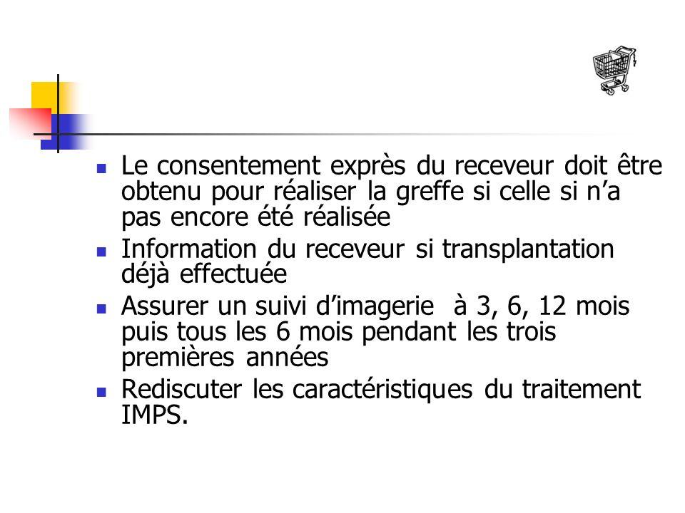 Le consentement exprès du receveur doit être obtenu pour réaliser la greffe si celle si na pas encore été réalisée Information du receveur si transpla